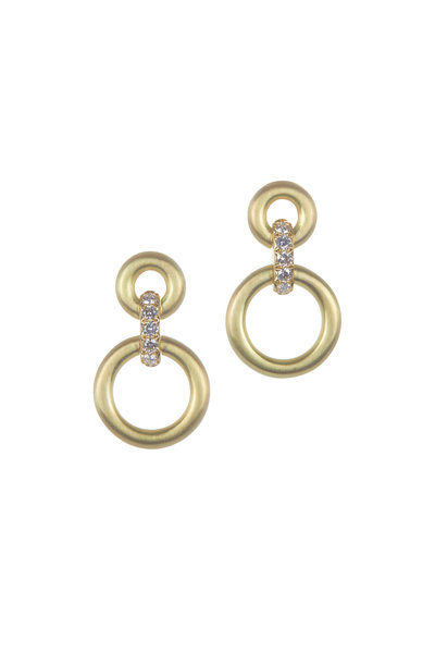 Caroline Ellen - 18K Yellow Gold Double Circle Doorknocker Earrings