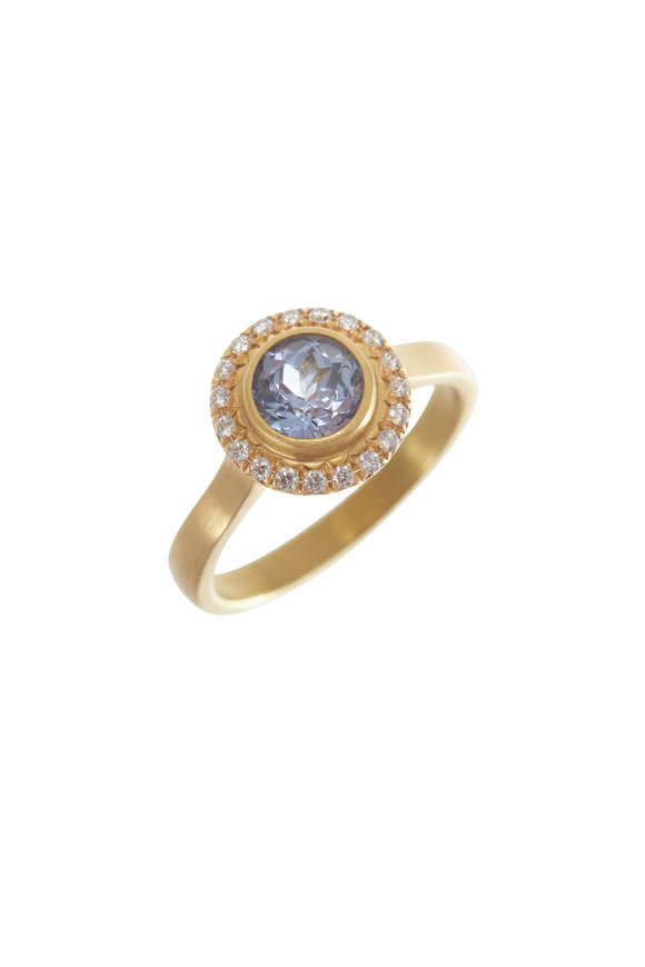 Caroline Ellen 20K Yellow Gold Sapphire & Diamond Ring