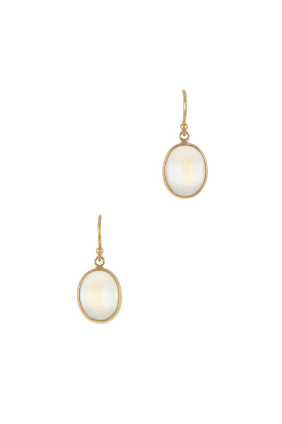 Caroline Ellen 22K Yellow Gold Moonstone Drop  Earrings
