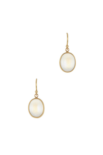 Caroline Ellen - 22K Yellow Gold Moonstone Drop  Earrings