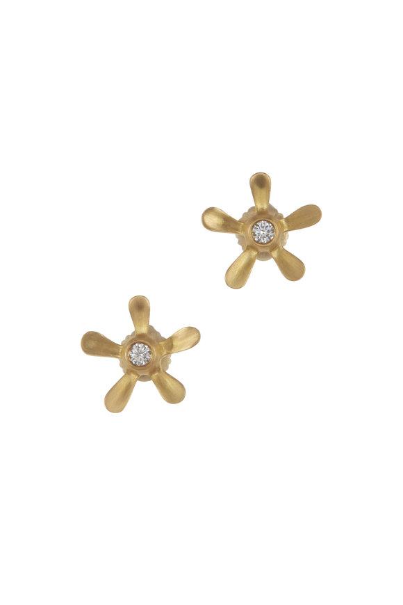 Caroline Ellen 20K Yellow Gold Long Petal Stud Earrings