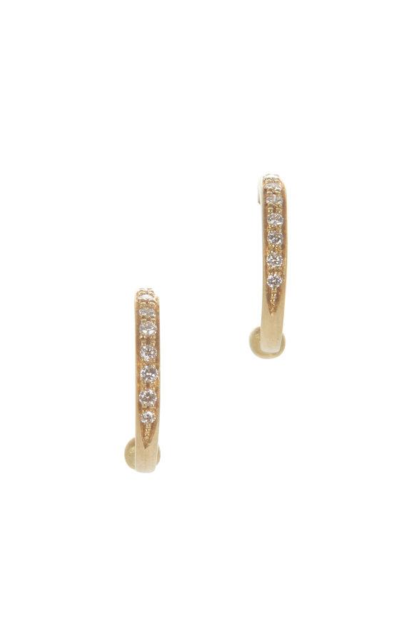 Caroline Ellen 18K Yellow Gold Pavé Hoop Earrings