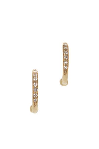 Caroline Ellen - 18K Yellow Gold Pavé Hoop Earrings