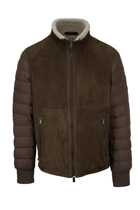 Ermenegildo Zegna Olive Taupe Suede Shearling Mixed Media Jacket