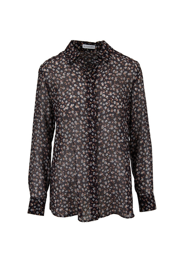 Altuzarra Black Silk Georgette Mini Floral Printed Blouse