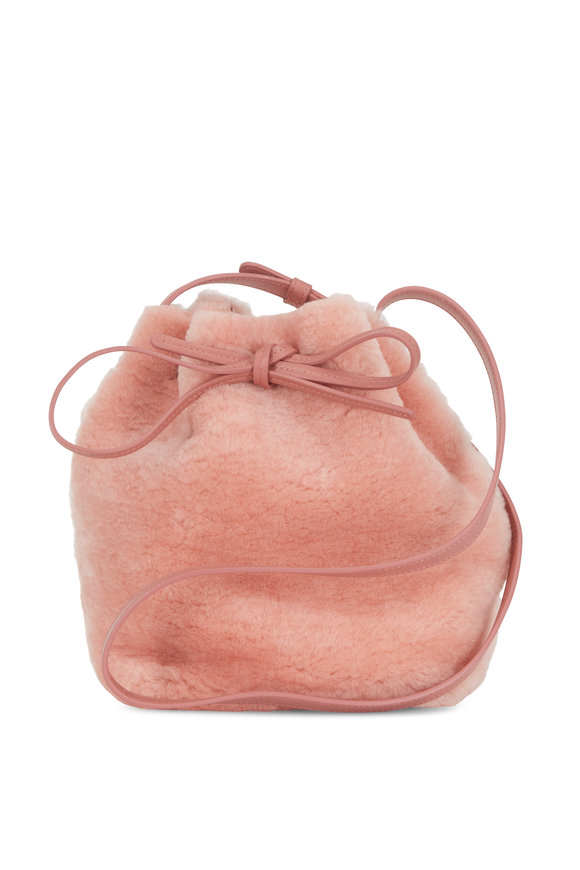 Mansur Gavriel Blush Shearling Mini Bucket Bag