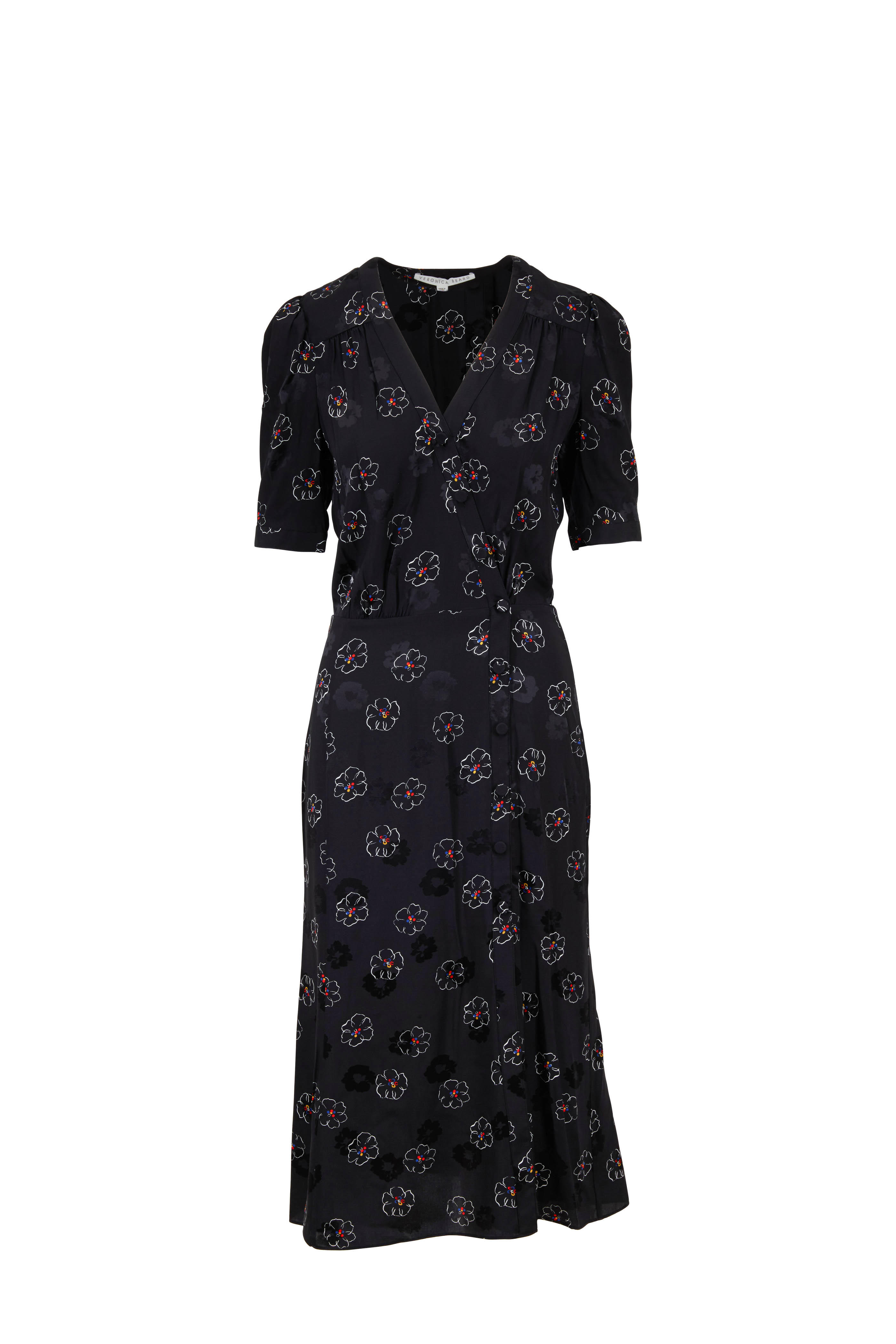 88febe986 Veronica Beard - Mika Black Floral Print Elbow Sleeve Midi Dress ...