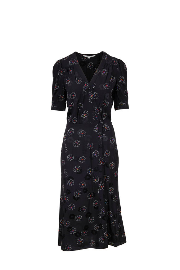 Veronica Beard Mika Black Floral Print Elbow Sleeve Midi Dress
