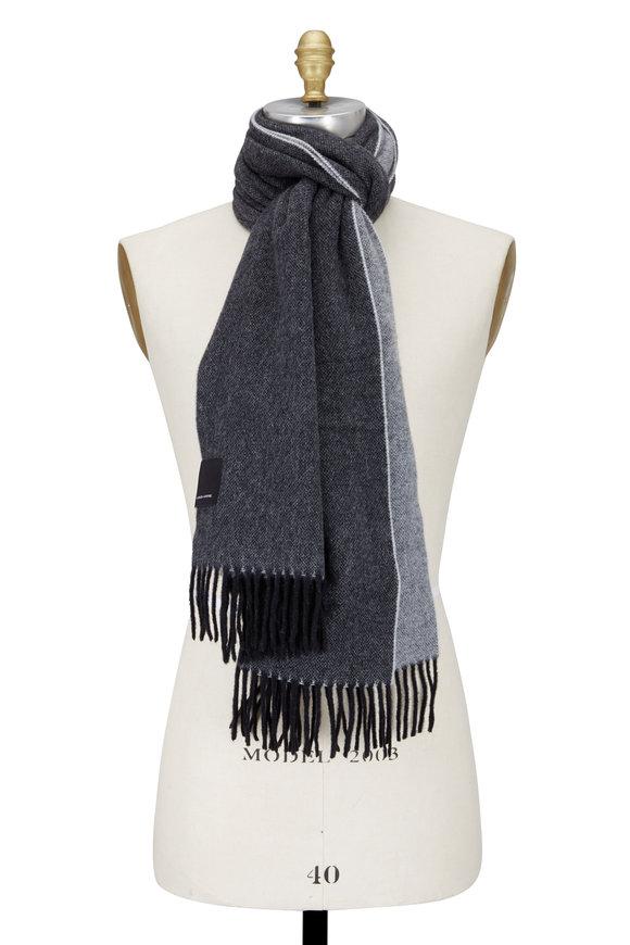 Canada Goose Gray & Black Wool Fringe Scarf
