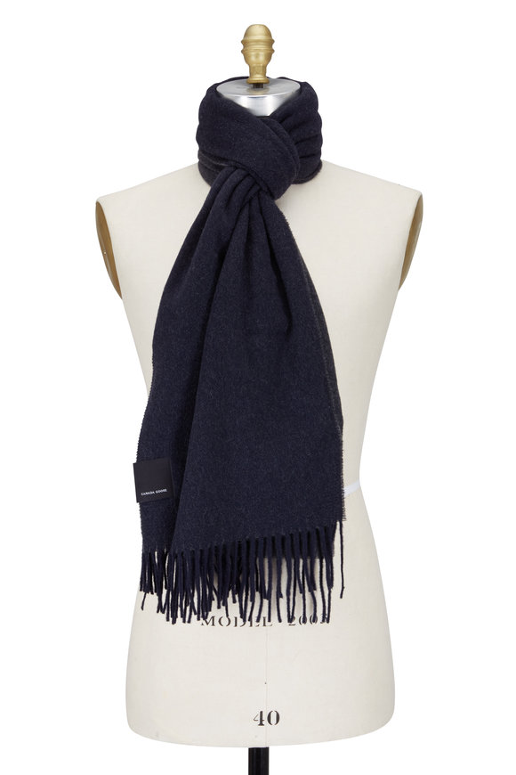 Canada Goose Navy & Charcoal Gray Wool Scarf