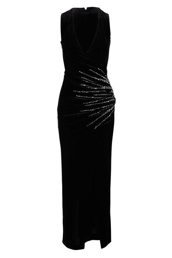 Balmain Black Velvet Ruched Sequin Sleeveless Gown