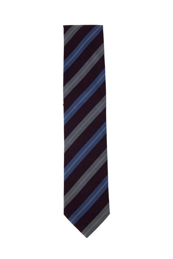 Eton Red & Blue Diagonal Striped Necktie