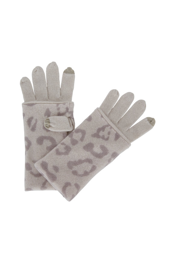 Birch Cashmere Leopard Print Gloves