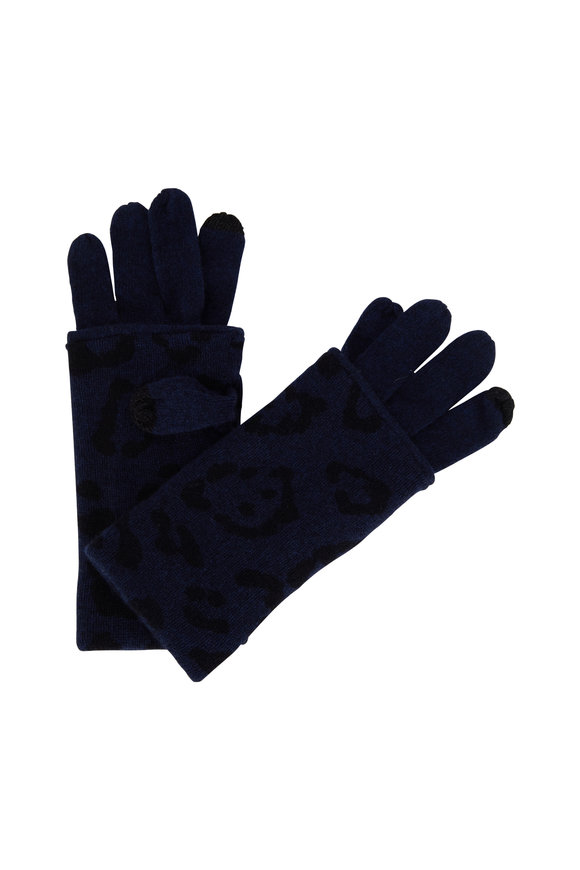 Kinross Inkwell Cashmere Leopard Print Gloves