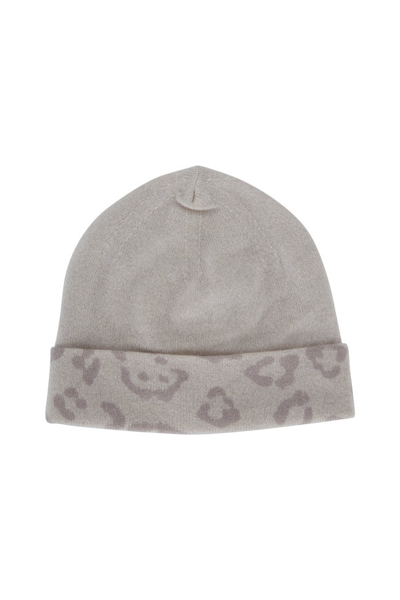 Kinross Birch Cashmere Leopard Print Reversible Hat