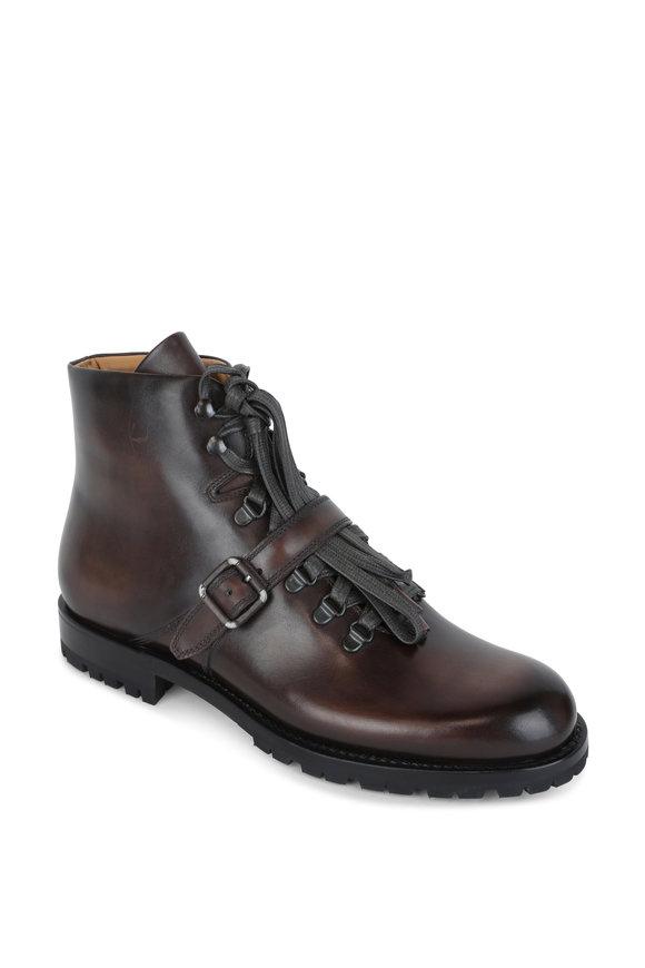 Berluti Brunico Dark Brown Leather Hiker Boot