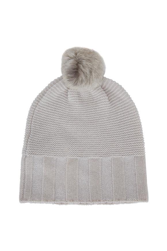 Kinross Birch & Ivory Cashmere Fur Pom Pom Hat