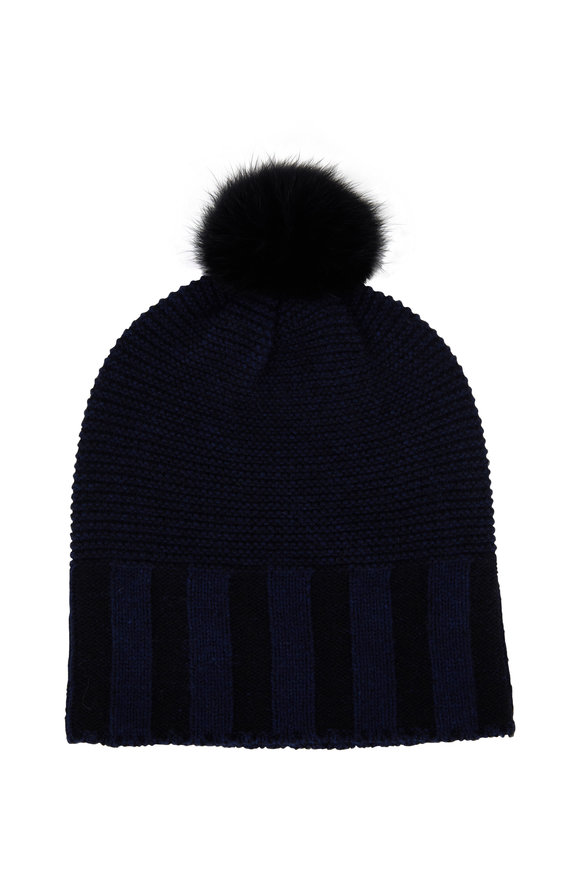 Kinross Inkwell & Black Cashmere Fur Pom Pom Hat