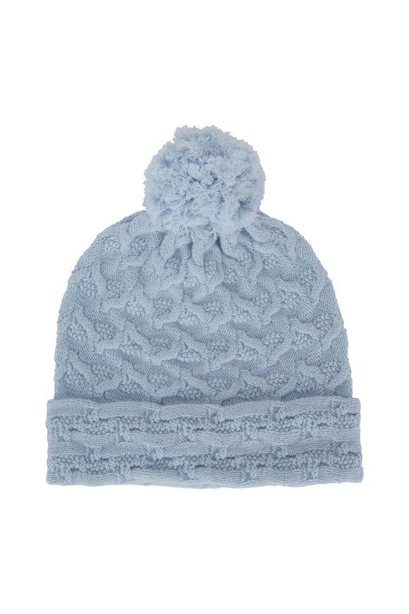 Kinross Arctic Cashmere Cable Knit Pom Pom Hat
