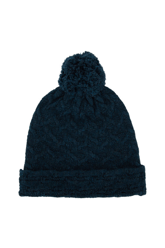 Kinross Balsam Cashmere Cable Knit Pom Pom Hat