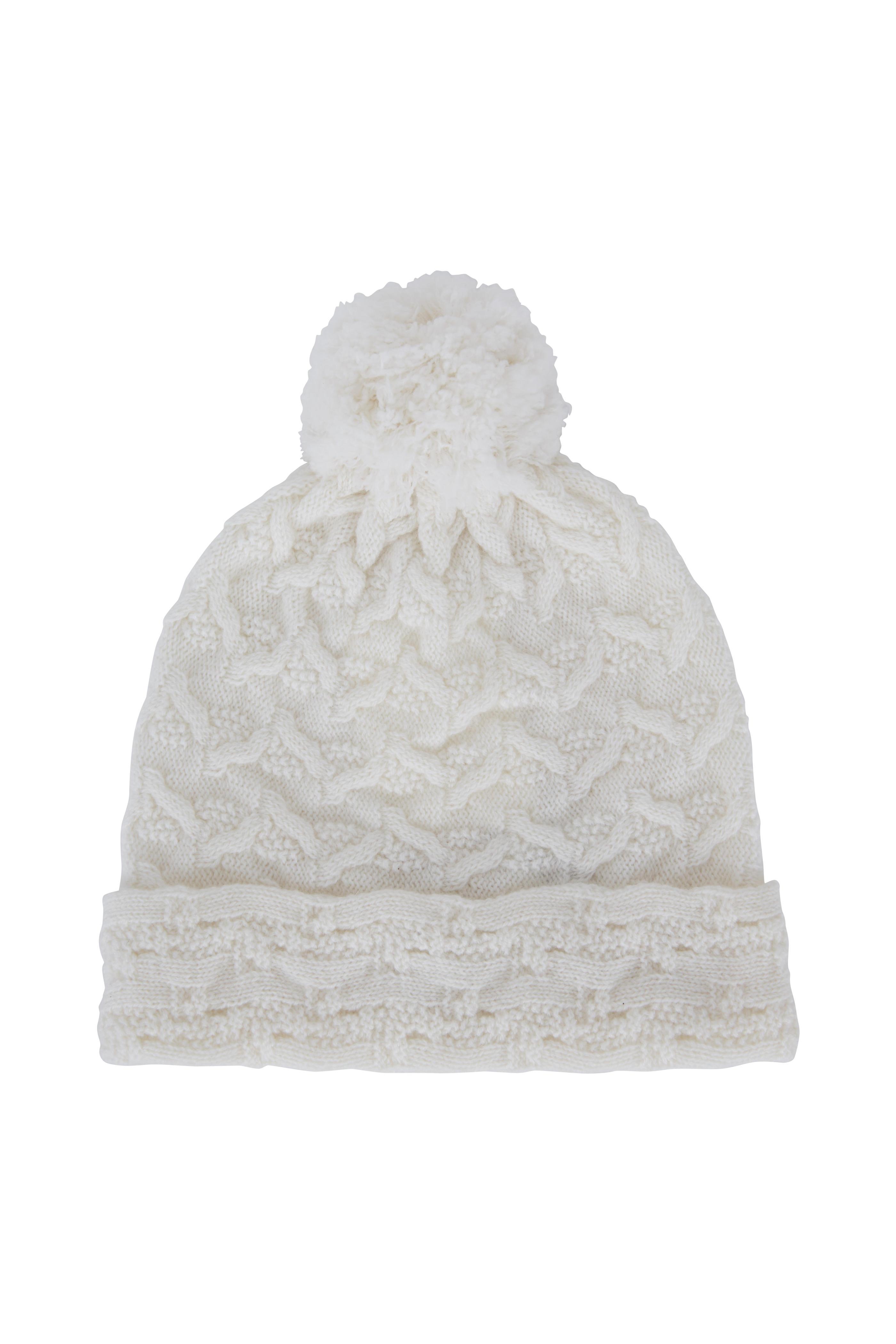 40c73af8be3 Kinross - Ivory Cashmere Cable Knot Pom Pom Hat
