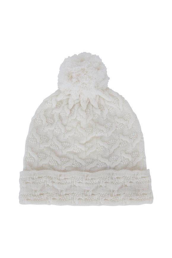 Kinross Ivory Cashmere Cable Knot Pom Pom Hat