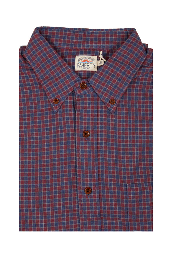 Faherty Brand Pacific Wine Shadow Check Button Down Shirt