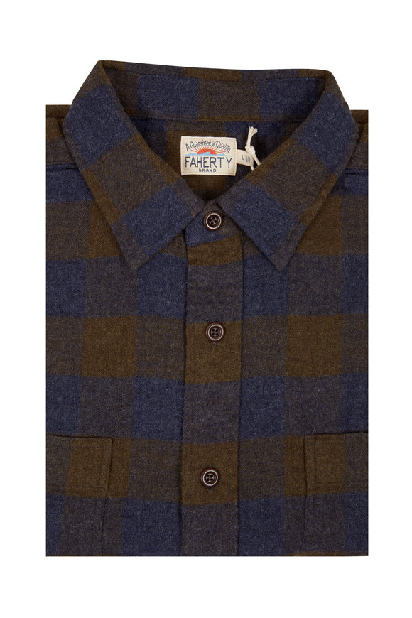 Faherty Brand Seasons Navy & Olive Buffalo Plaid Shirt