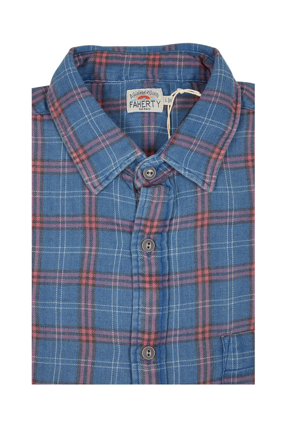 Faherty Brand Seaview Indigo Blue Melange Plaid Sport Shirt