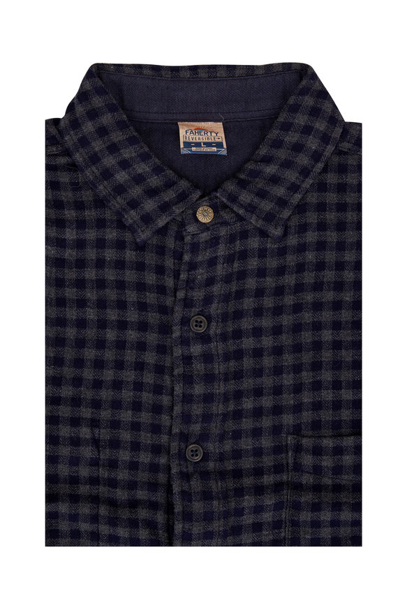 Faherty Brand Belmar Navy & Gray Check Reversible Shirt