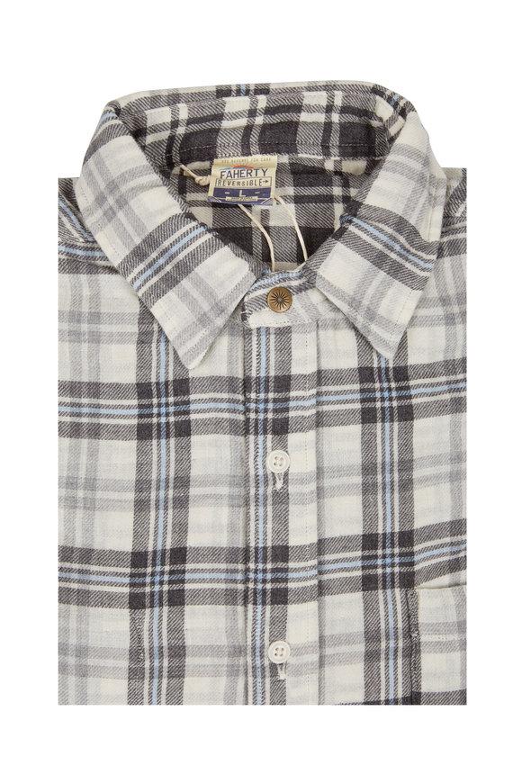 Faherty Brand Belmar Gray & Cream Plaid Reversible Shirt