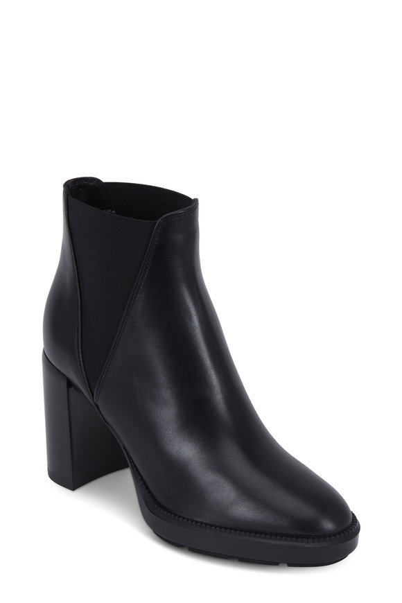 Aquatalia Ivana Black Leather Weatherproof Boot, 85mm