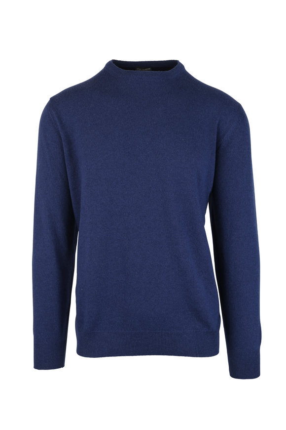 Eddy Monetti Blue Wool & Cashmere Elbow Patch Sweater
