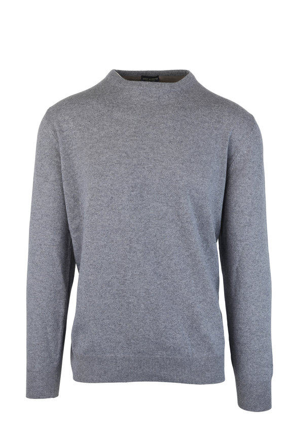 Eddy Monetti Gray Wool & Cashmere Elbow Patch Sweater