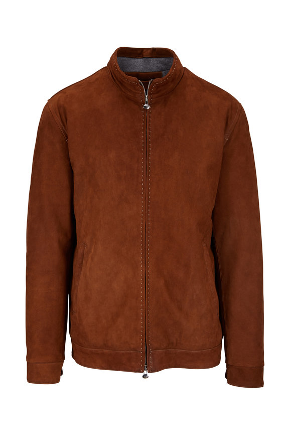 Eddy Monetti Dream Brown Nubuck Stitch Detail Jacket