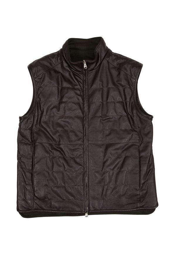 Eddy Monetti Brown Deerskin Leather & Cashmere Reversible Vest