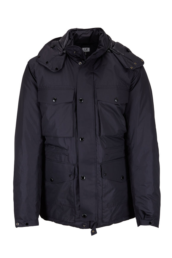 CP Company Black Nylon & Down Four-Pocket Goggle Jacket