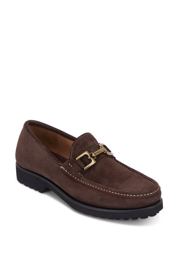 Bruno Magli Falcone Dark Brown Suede Bit Loafer