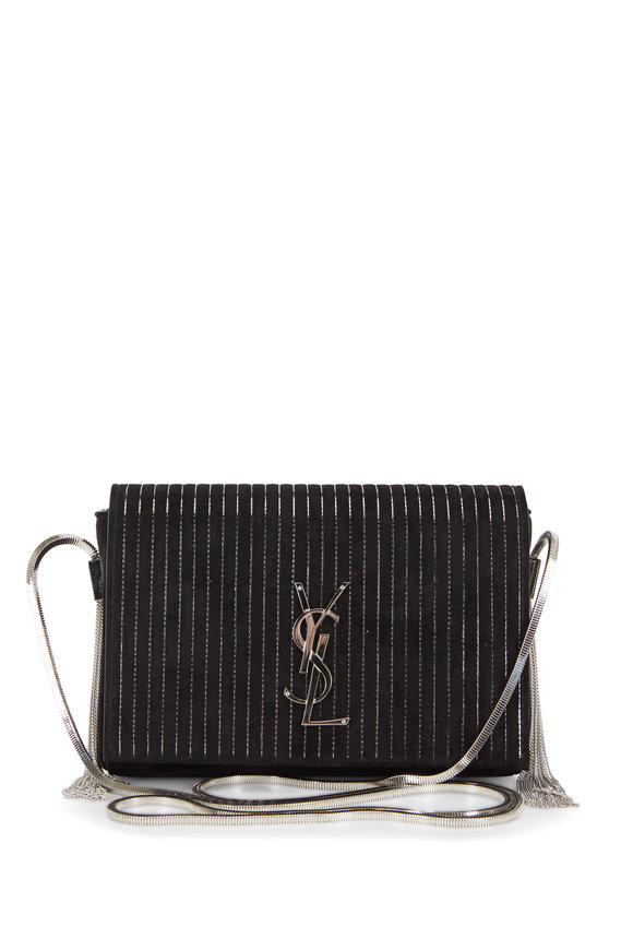 Saint Laurent Kate Black Suede Silver Vertical Chains Small Bag