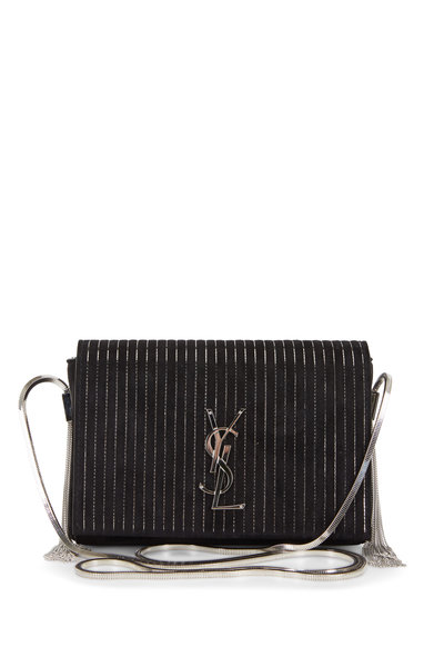 Saint Laurent - Kate Black Suede Silver Vertical Chains Small Bag