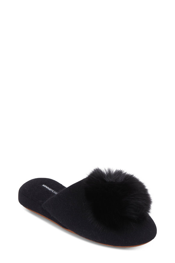 Minnie Rose Black Cashmere Wedge Pom Pom Slipper
