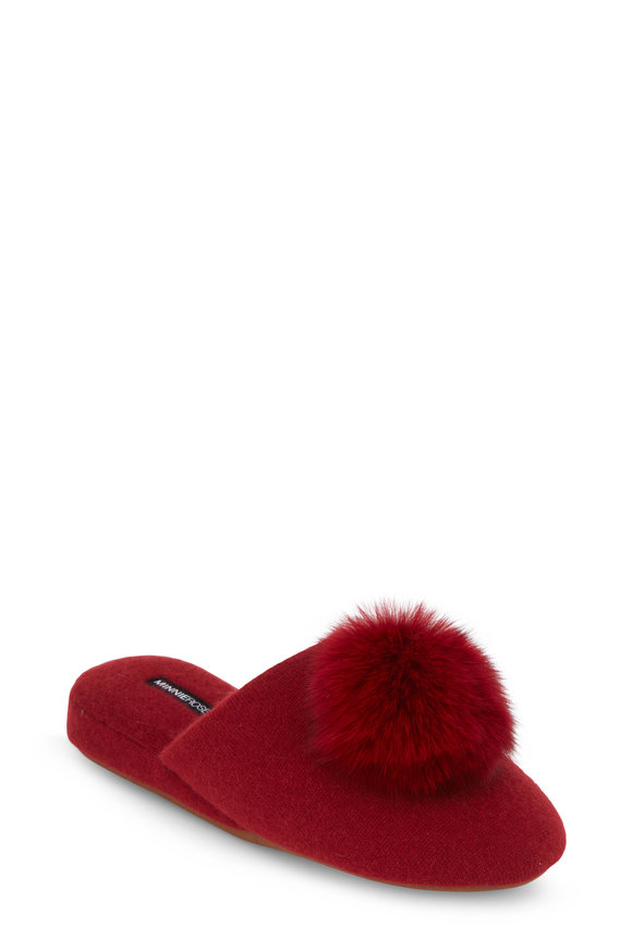 Minnie Rose Red Cashmere Wedge Pom Pom Slipper