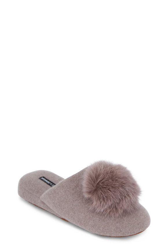 Minnie Rose Mink Cashmere Wedge Pom Pom Slipper