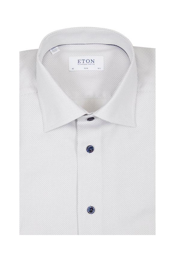 Eton Textured Gray Cotton Slim Fit Dress Shirt
