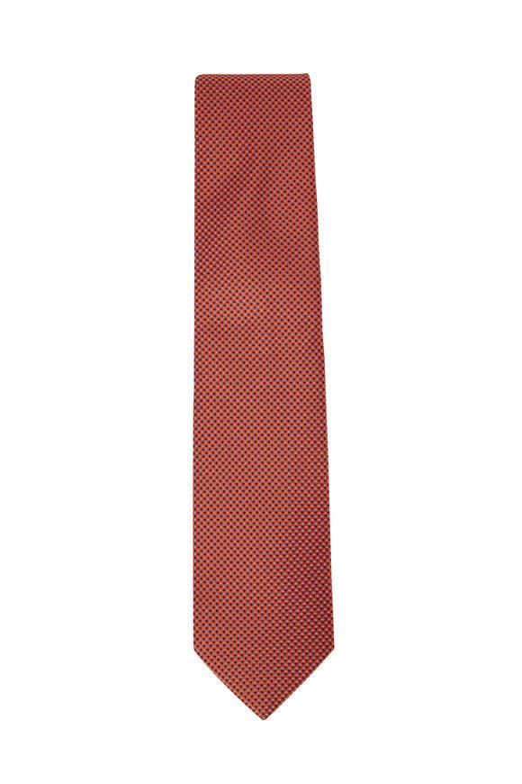 Eton Orange Dot Pattern Silk Necktie
