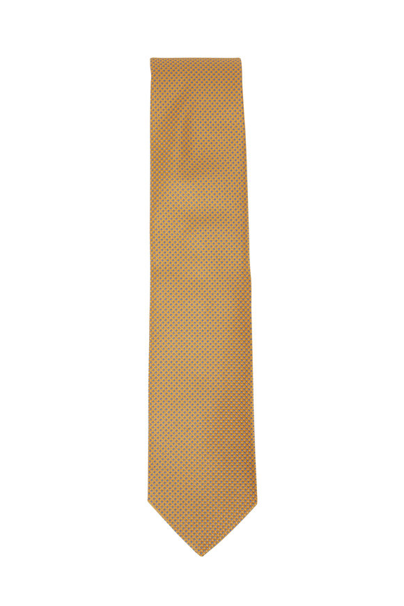 Eton Yellow & Blue Dot Silk Necktie