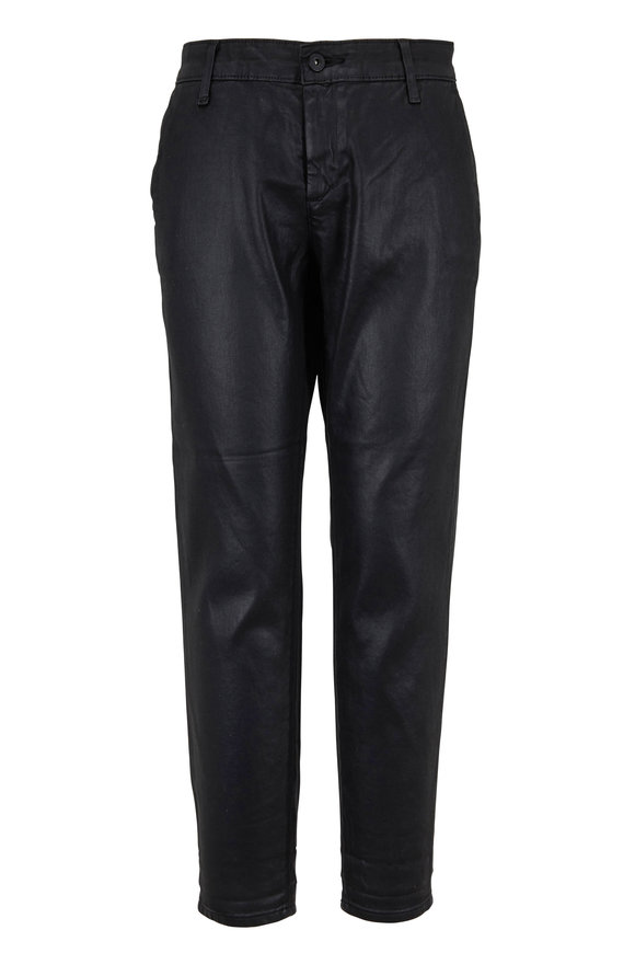 AG - Adriano Goldschmied Caden Black Coated Crop Pant