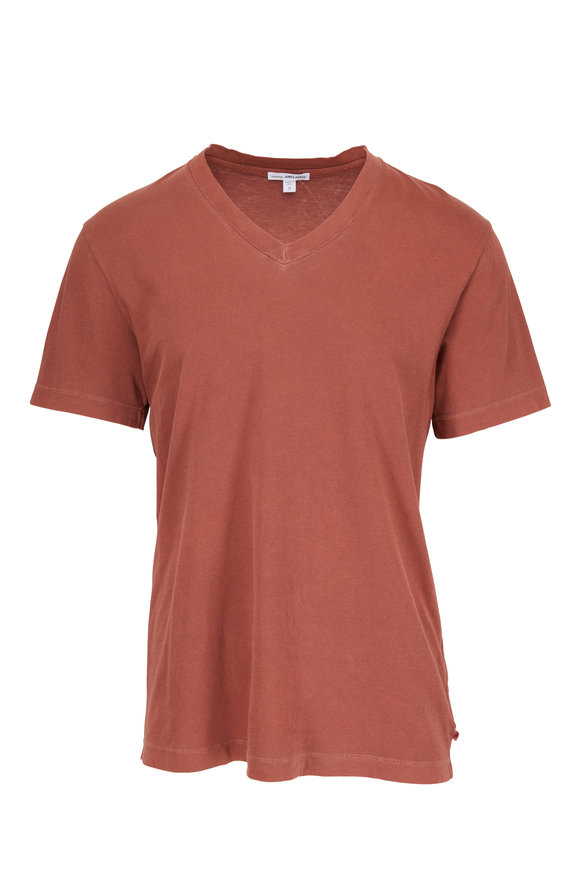 James Perse Red Clay V-Neck T-Shirt