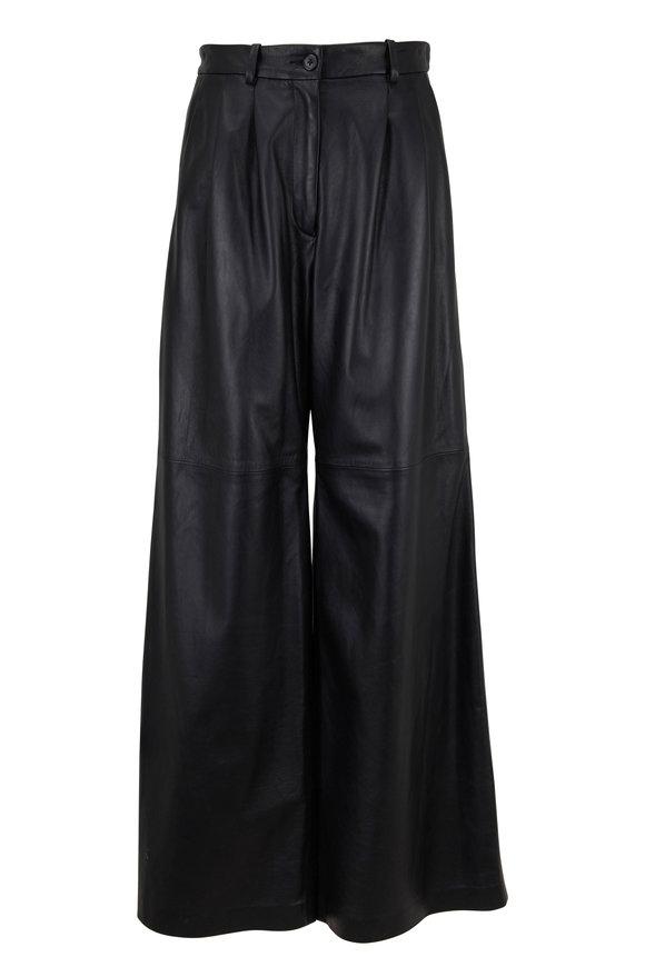 Nili Lotan Nico Black Leather High-Rise Pant