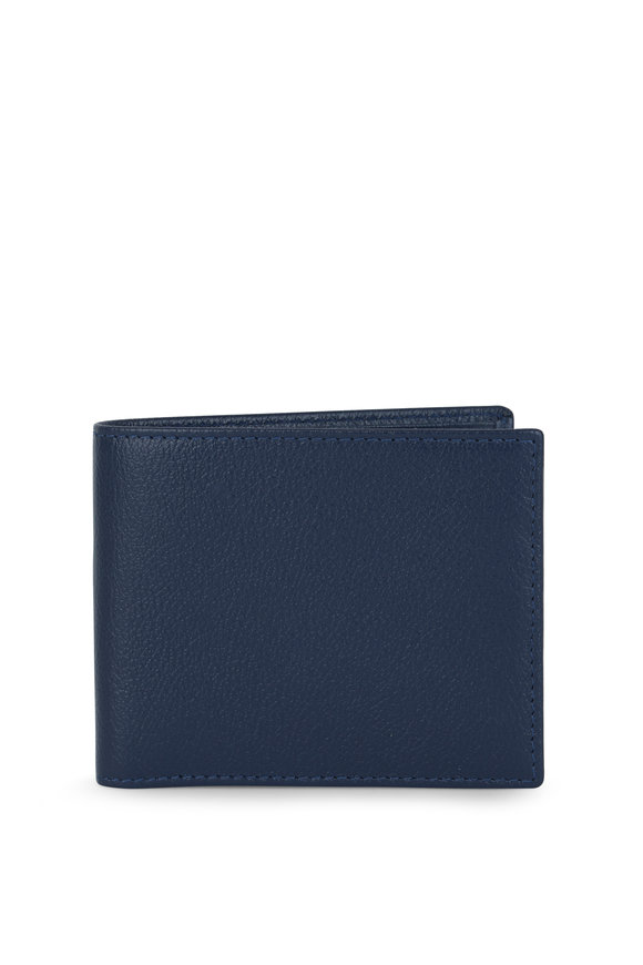 Ettinger Leather Capra Blue Leather Billfold Wallet
